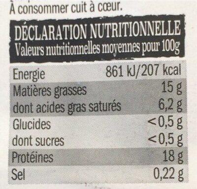 Steacks Hachés Pur Boeuf - Informations nutritionnelles - fr