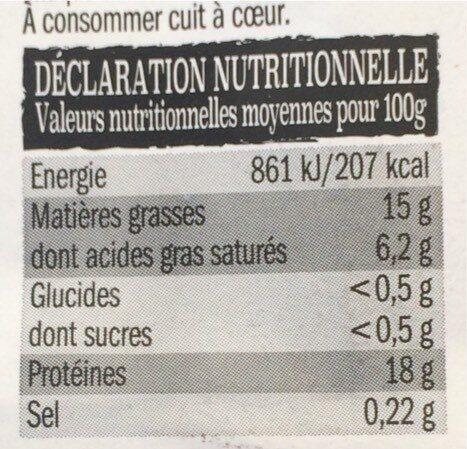 Steak haché V.B.F. x 4 - Informations nutritionnelles - fr