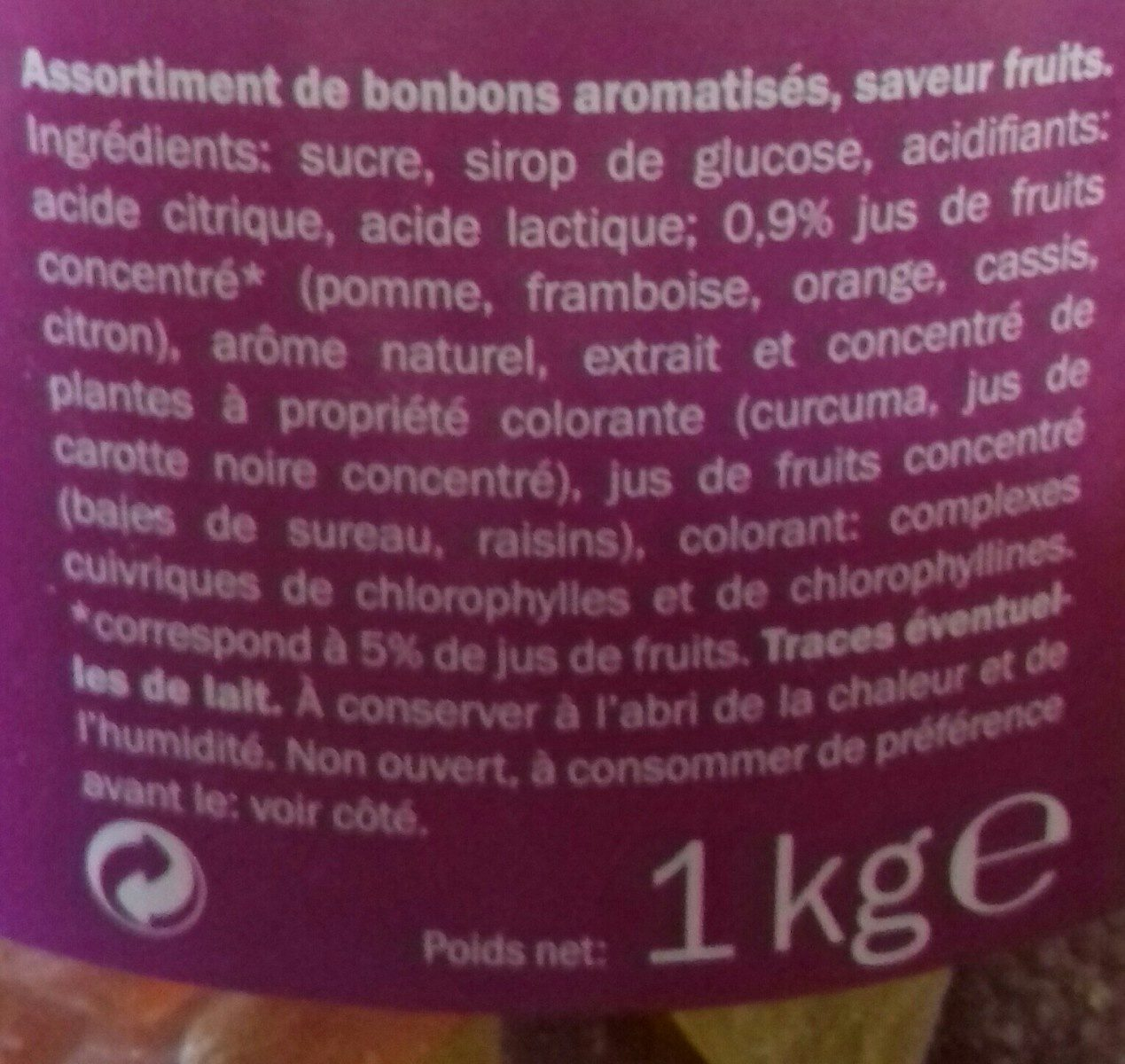 Mélange de Bonbons aux Fruits - Ingredients