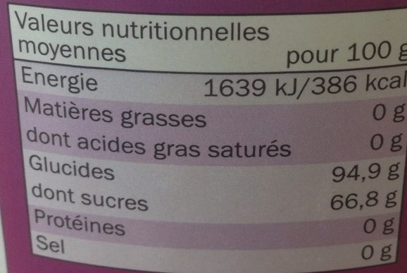 Mélange de Bonbons aux Fruits - Nutrition facts