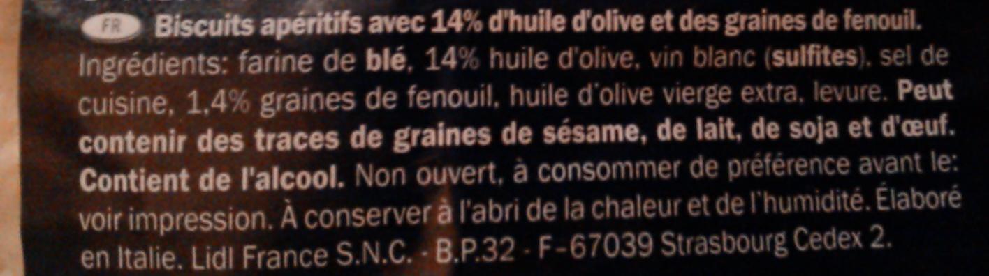 Tarallini 14% olio d'oliva - Inhaltsstoffe