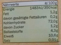 Bio Weizen Mehl Type 550 - Nährwertangaben