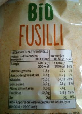 fusilli bio Lidl - Informations nutritionnelles
