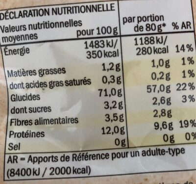 Fusilli bio - Voedingswaarden - fr