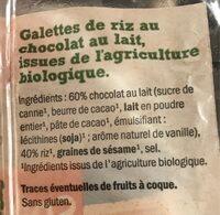 Galettes de riz chocolat au lait - Ingredientes - fr