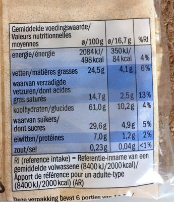 Galette de riz chocolat au lait - Información nutricional