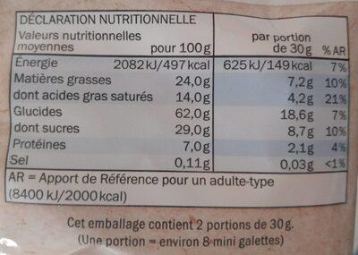 Bio mini galettes de riz chocolat au lait - Información nutricional - en