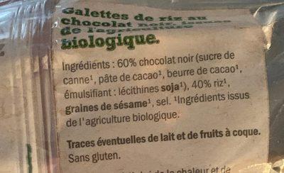 Galettes de Riz au Chocolat Noir BIO - Ingrédients - fr