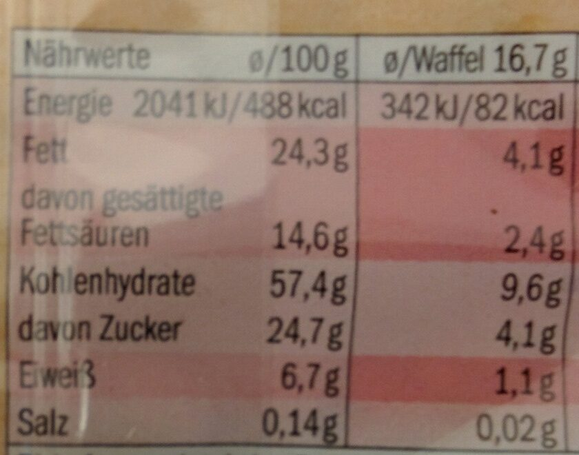 Bio Galettes de RIZ Chocolat noir - Nährwertangaben