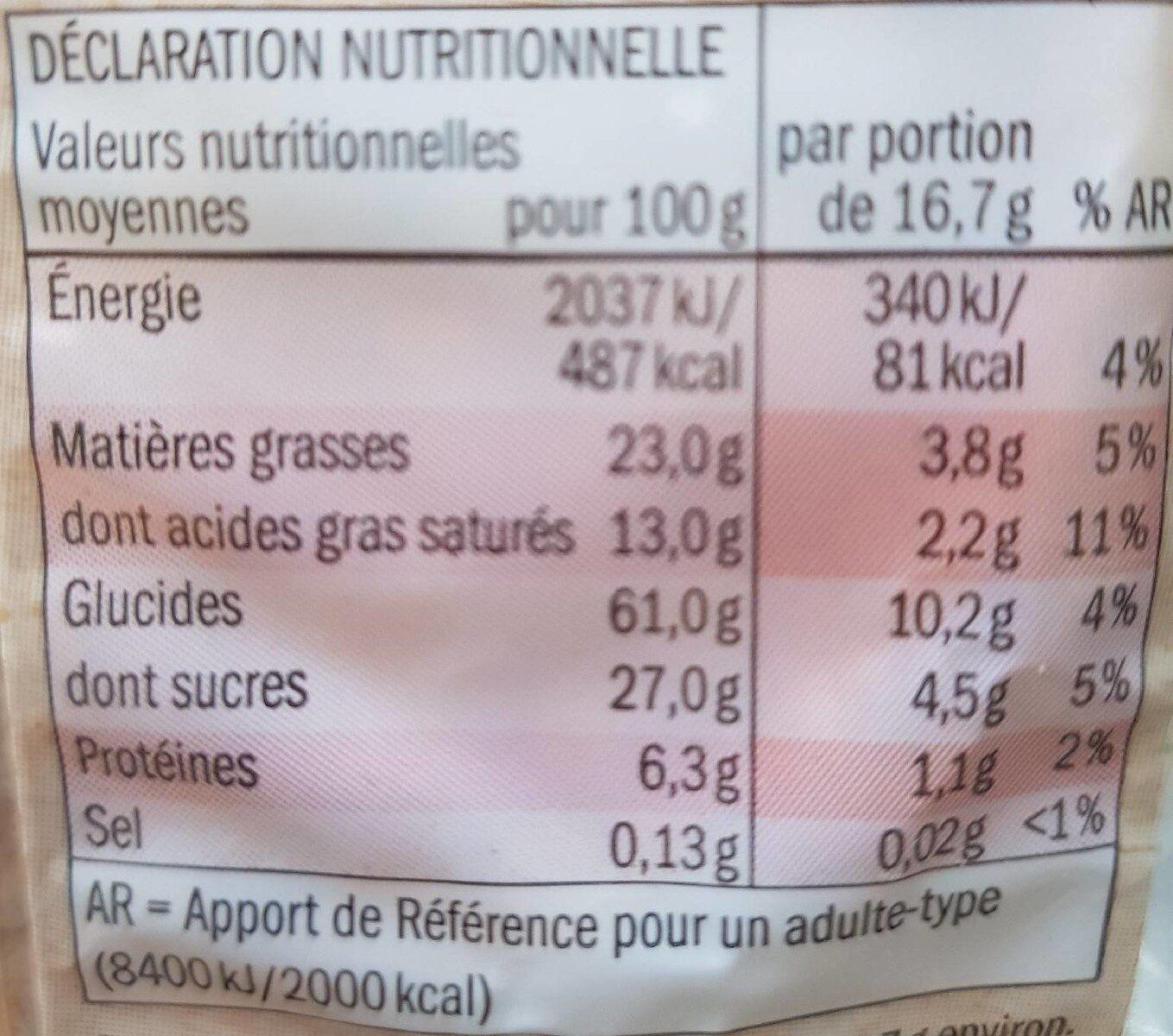 Galettes de Riz au Chocolat Noir BIO - Valori nutrizionali - en