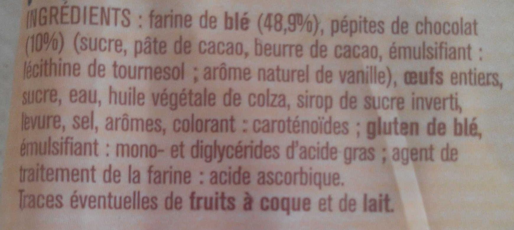 Brioche tressée pépites chocolat - Ingrédients - fr