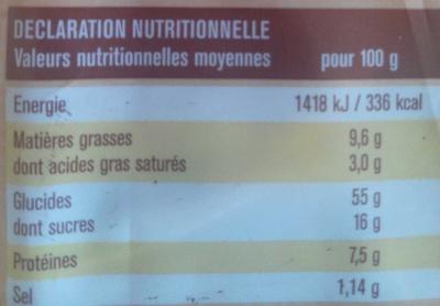 Brioche tressée pépites chocolat - Informations nutritionnelles - fr