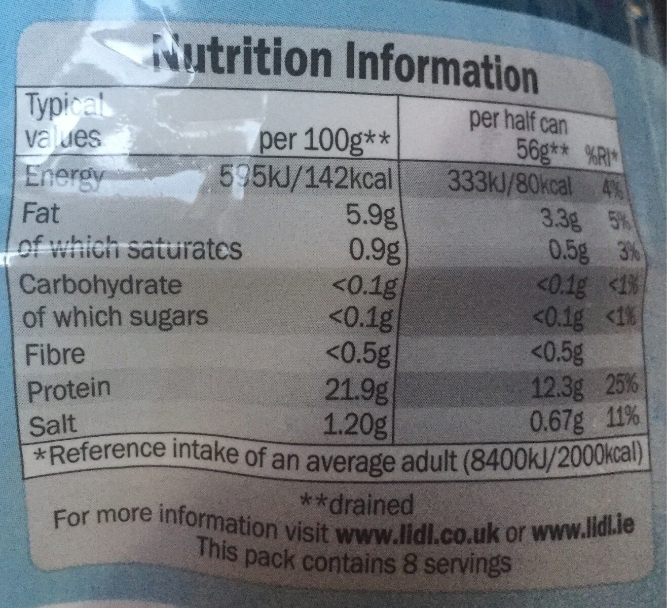Tuna Chunks - Valori nutrizionali - en