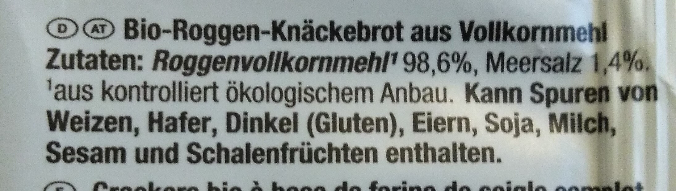 BIO-KNÄCKEBROT ROGGEN - Ingredients