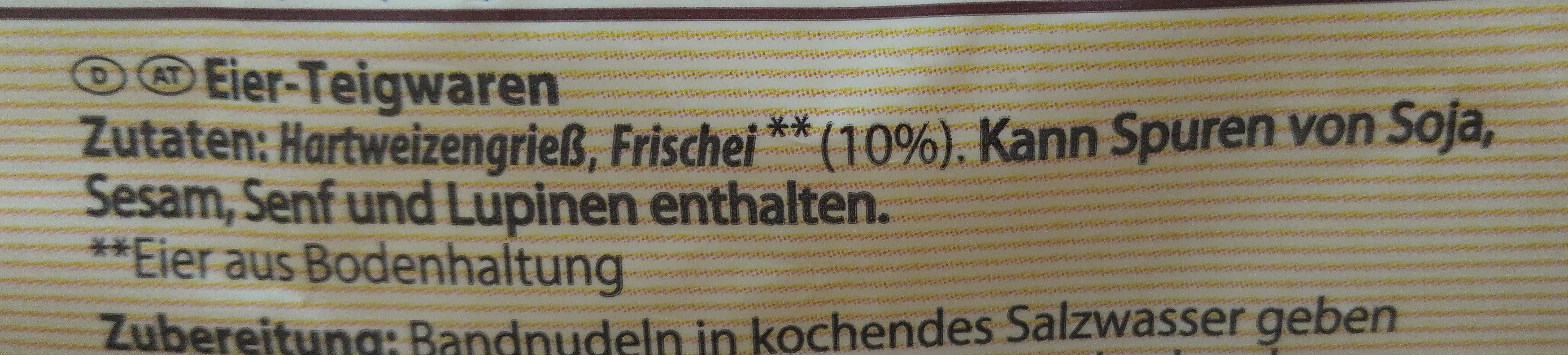 Bandnudeln Frischei-Nudeln - Ingredients