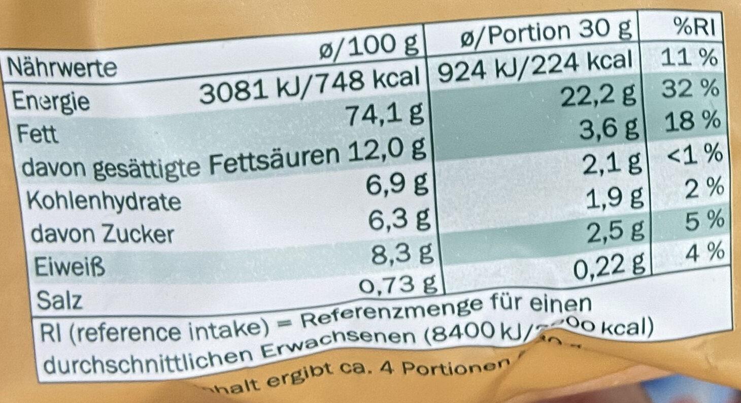 Macadamia - Informations nutritionnelles - de