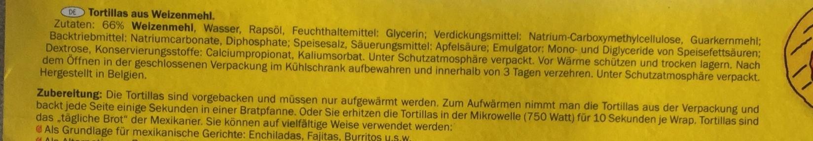 Tortillas à base de farine de blé - Nährwertangaben - de