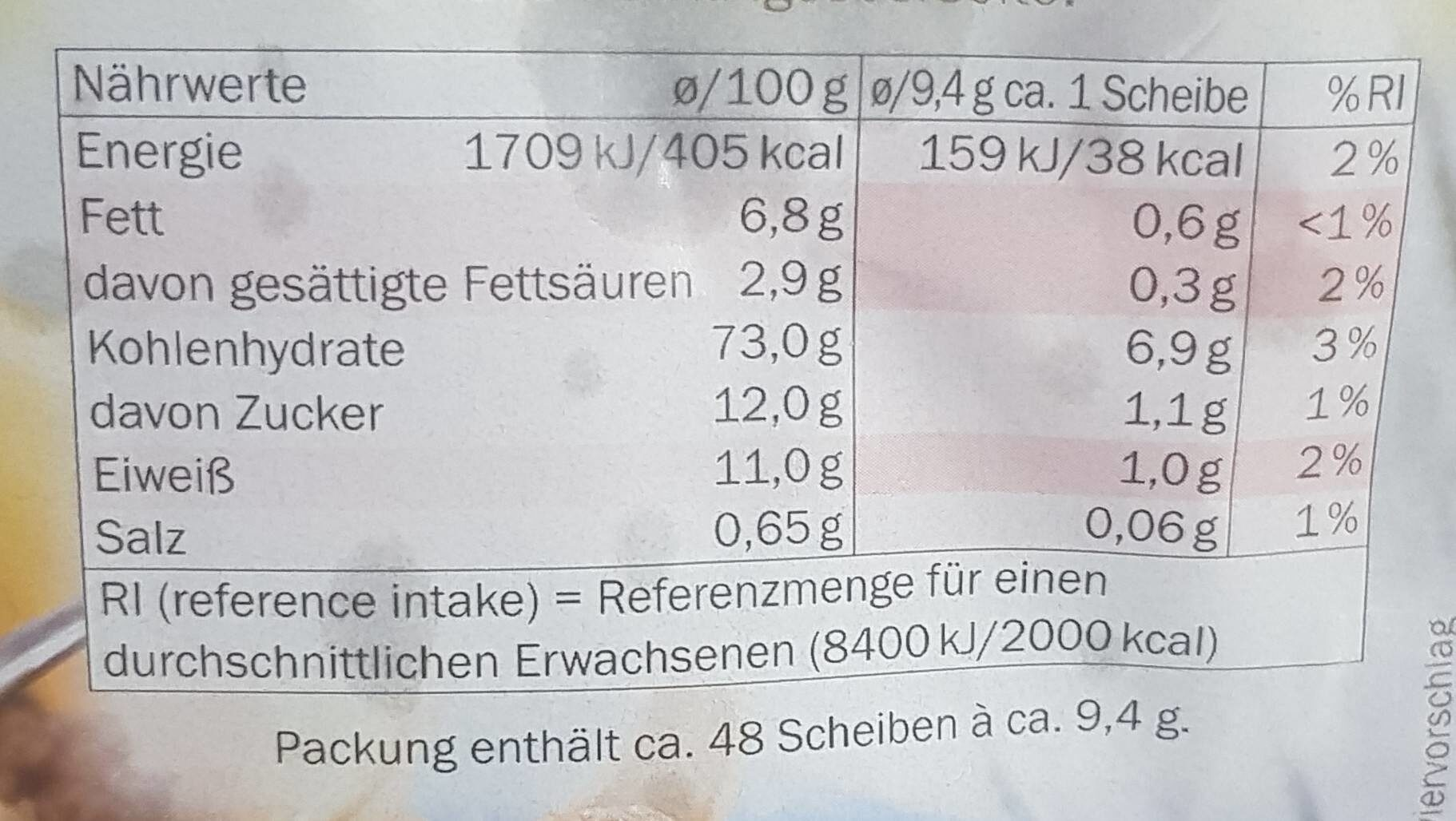 Zwieback - Nutrition facts - de