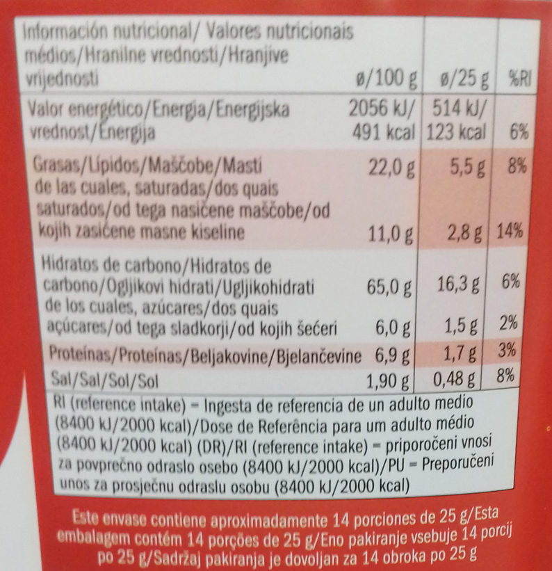 Galletas saladas - Información nutricional