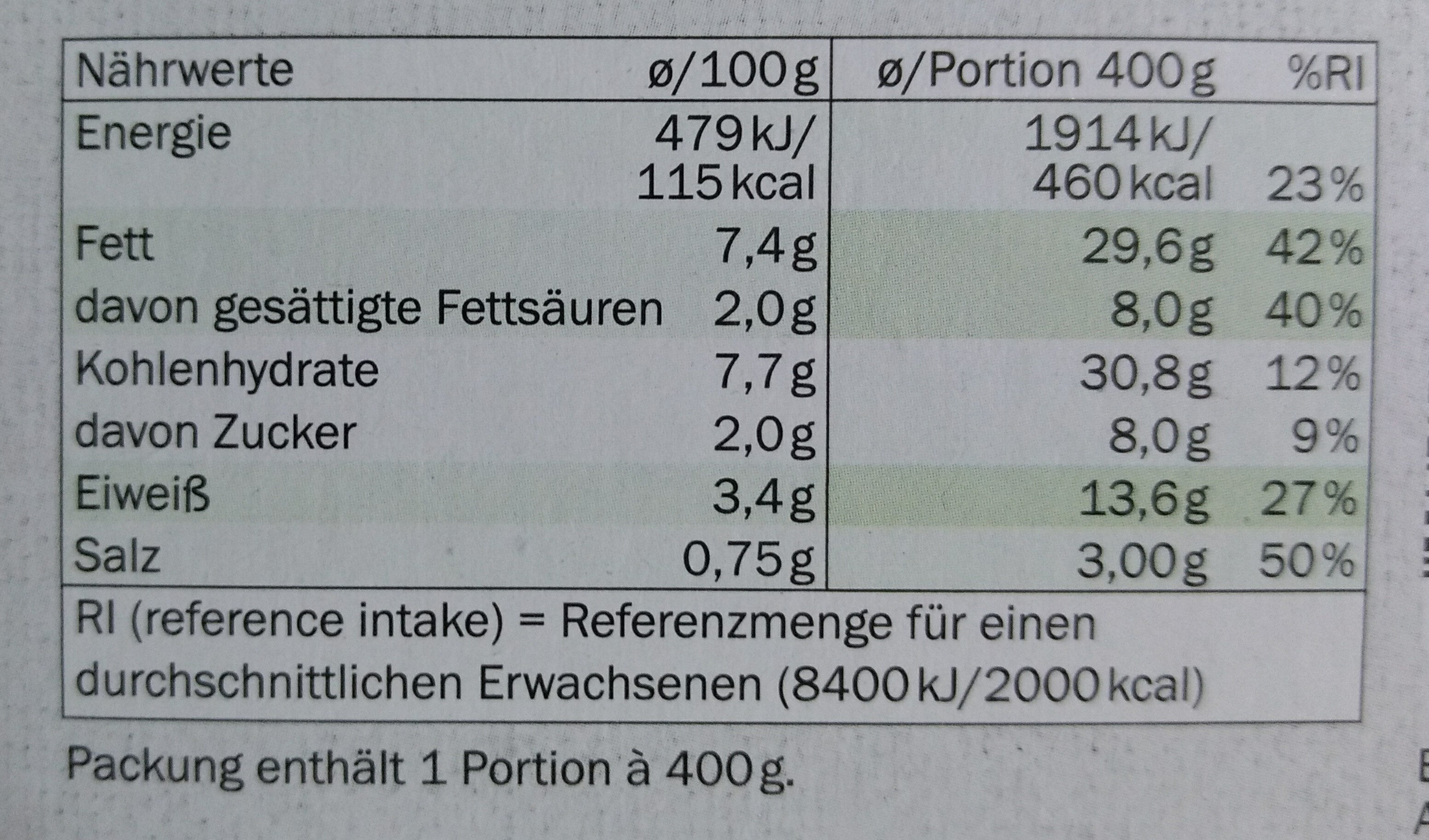 Broccoli-Gratin mit Kartoffeln - Nutrition facts