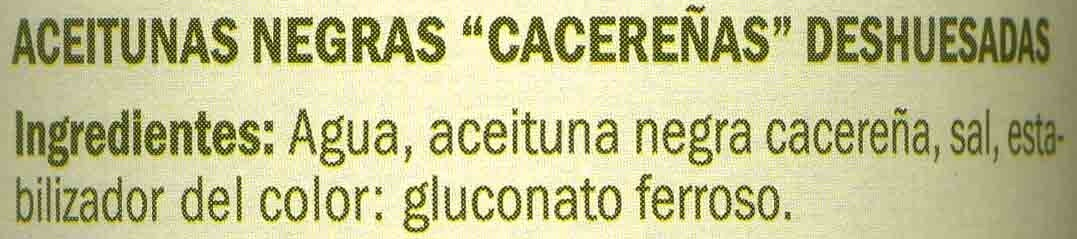 Aceitunas cacereñas negras sin hueso - Ingredientes - es