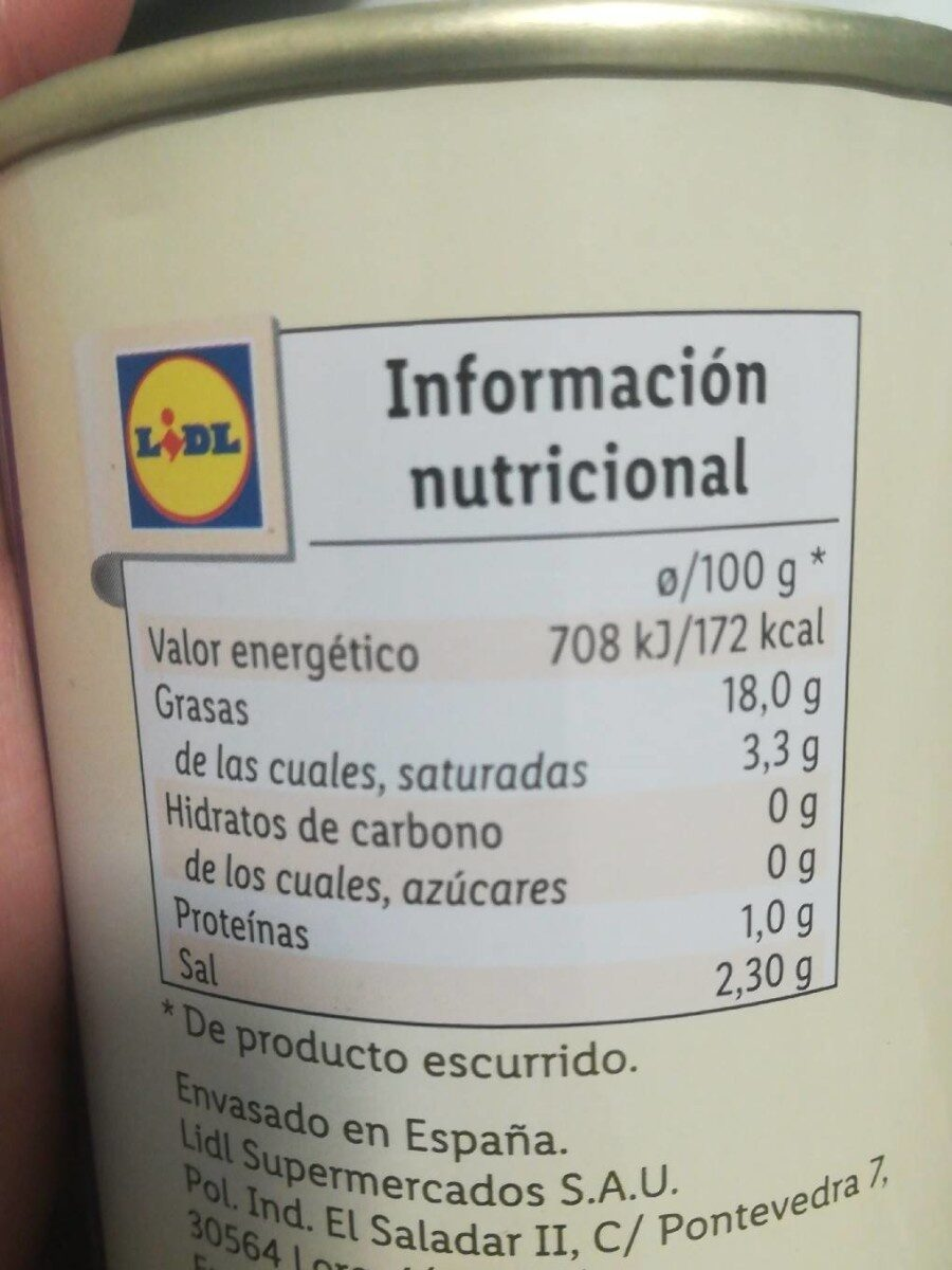 Aceitunas negras sin hueso - Informations nutritionnelles - es