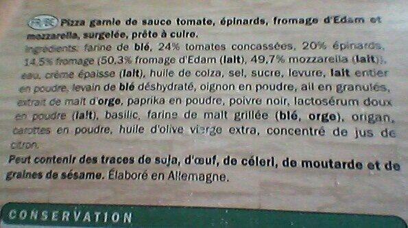 Pizza vegetariana - Ingrédients - fr