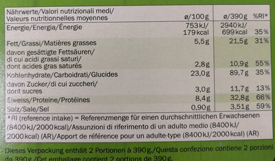 Veggie Pizza Spinat - Nutrition facts