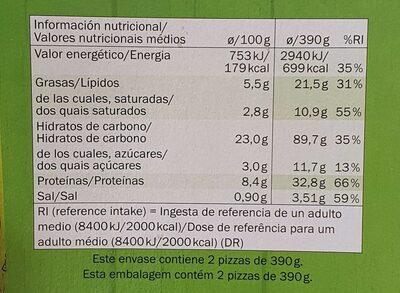 Pizza vegetariana - Informations nutritionnelles - de