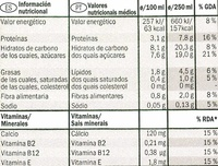 Bebida de soja con chocolate - DESCATALOGADO - Nutrition facts