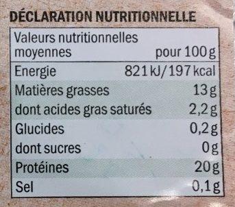 Pavé de saumon bio - Nutrition facts