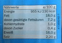 Delikatess Schinken-Wiener Light - Información nutricional