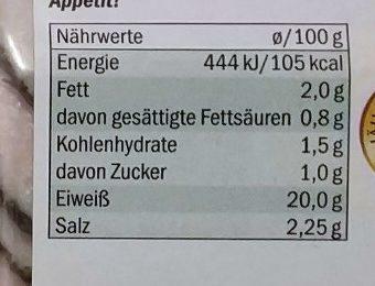 Delikatess Hähnchenbrust - Nutrition facts
