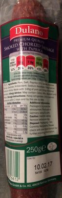 premium quality smoked chorizo sausage with paprika - Product