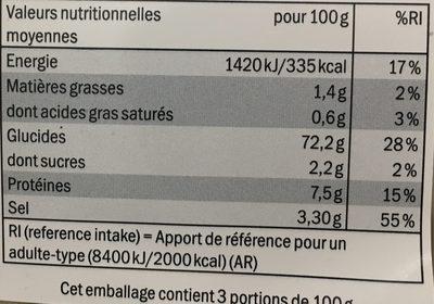 Risotto carnaroli - Informations nutritionnelles - fr