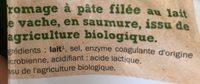 Bio Mozzarella - Ingrédients - fr