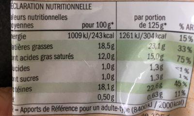 Bio Mozzarella - Informations nutritionnelles - fr
