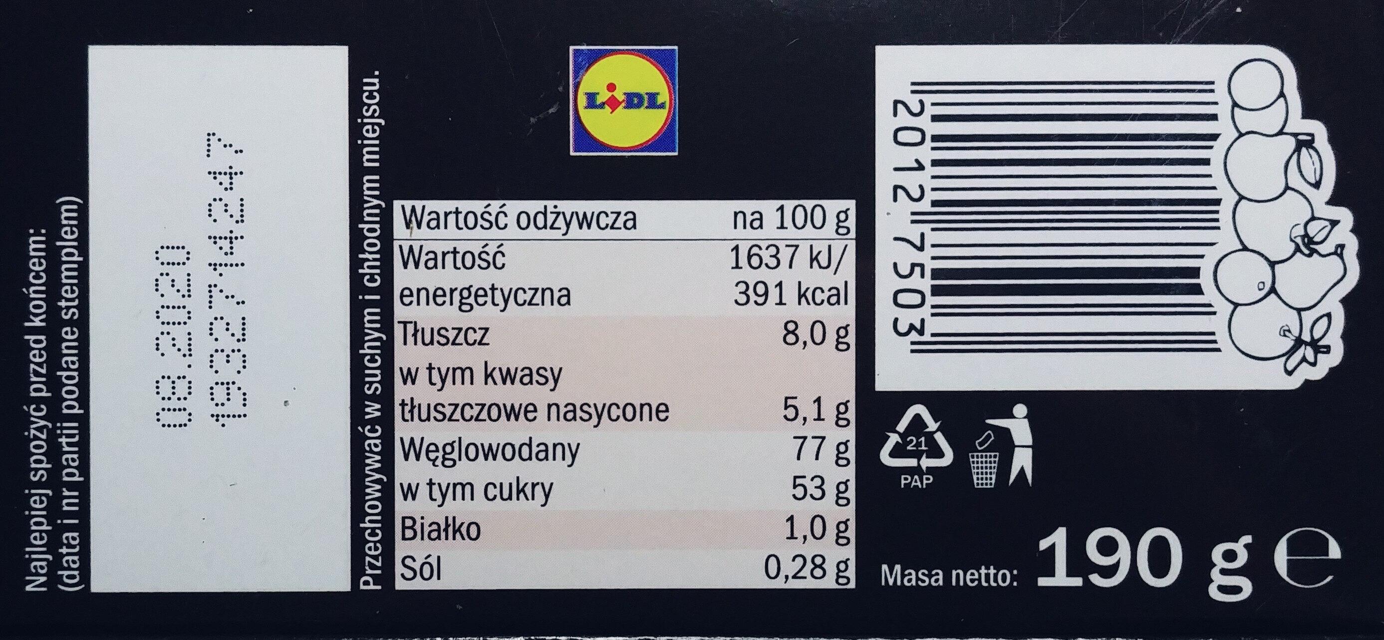 Galaretki o smaku wiśniowym w czekoladzie - Wartości odżywcze - pl