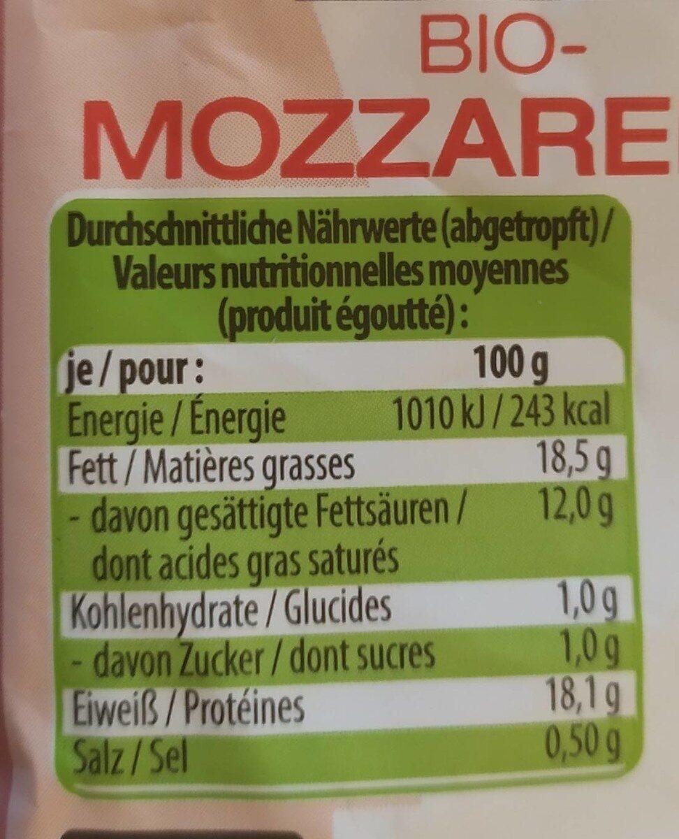 Bio-Mozarella - Valori nutrizionali - de