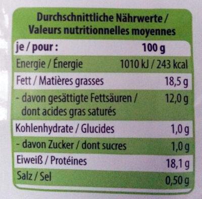 Bio-Mozzarella - Nutrition facts