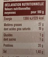 Fromage pour tartiflette - Informations nutritionnelles