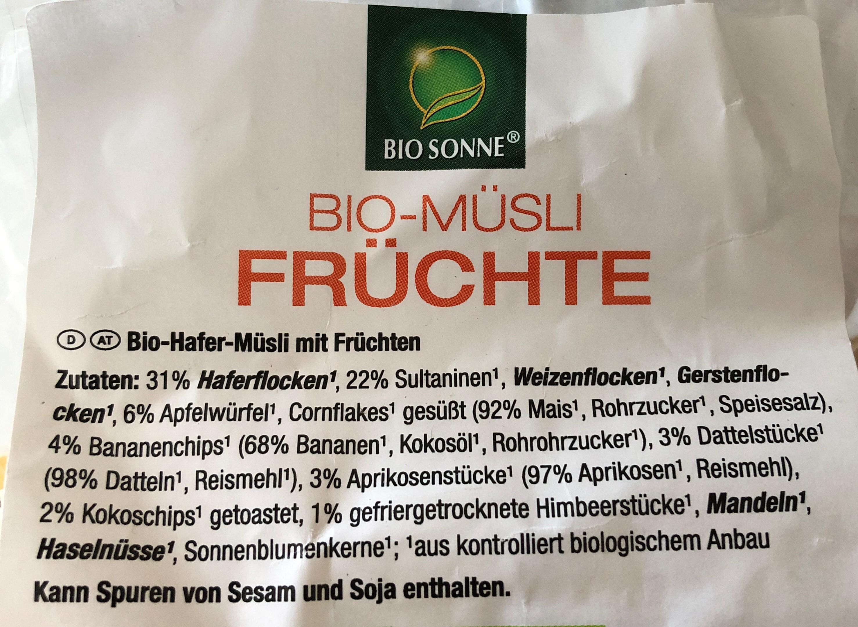 Bio Müsli - Ingredients - de