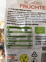 Bio Müsli - Nutrition facts - de