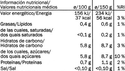 Fresas congeladas - Nutrition facts