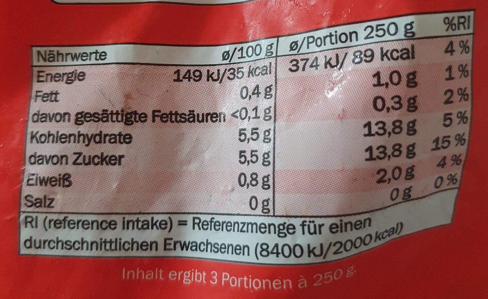 Gefrorene Erdbeeren - Valori nutrizionali - es