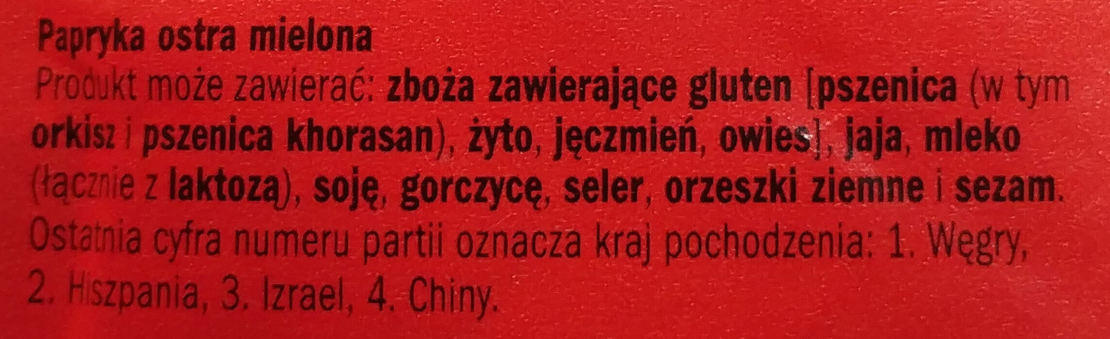 Papryka ostra mielona - Ingredients