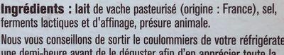 Coulommiers de Caractère - Ingrédients - fr
