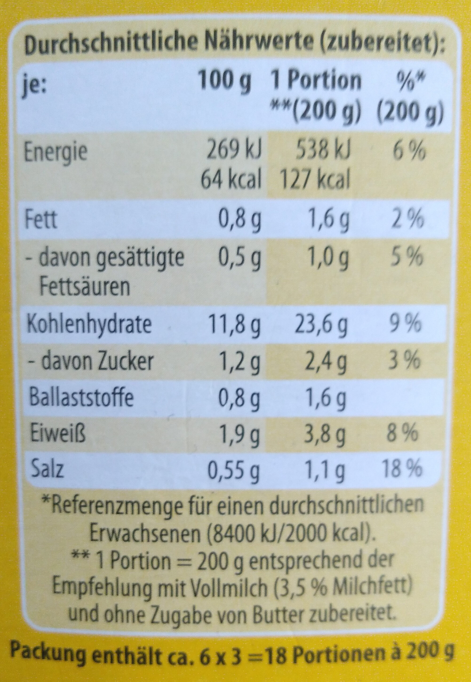 Kartoffel-Püree - Nutrition facts