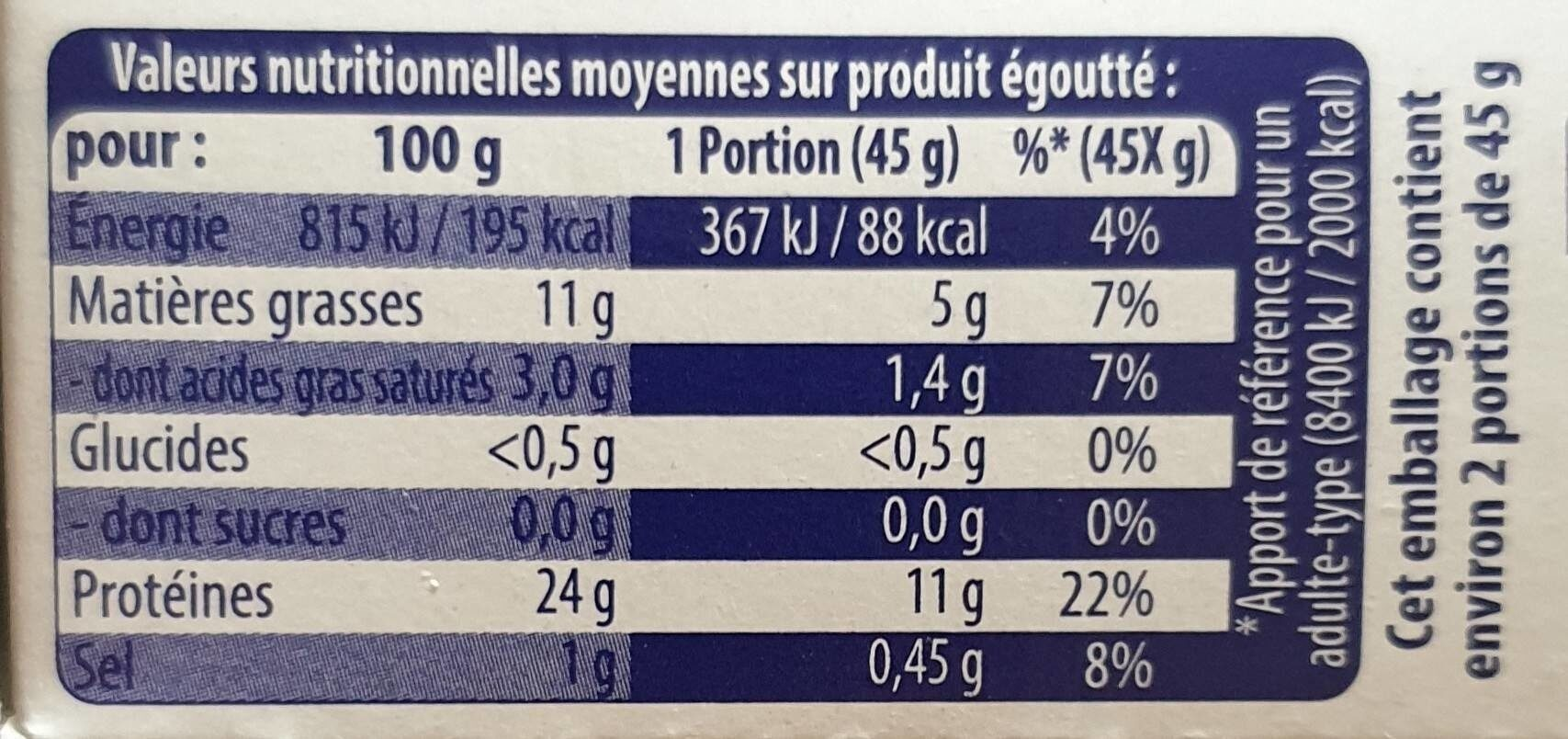 Sardines a l huile d'olive - Informations nutritionnelles - fr