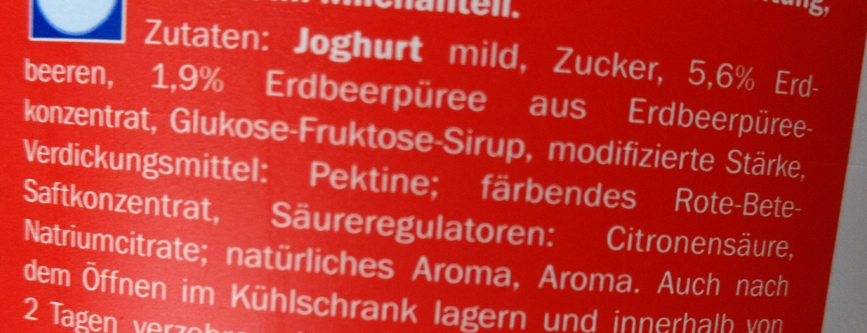 Creme Joghurt mild Erdbeere - Ingrédients - de